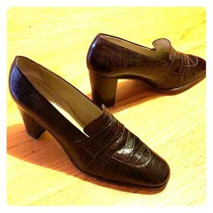 """Leather """"loafer"""" style heels."""